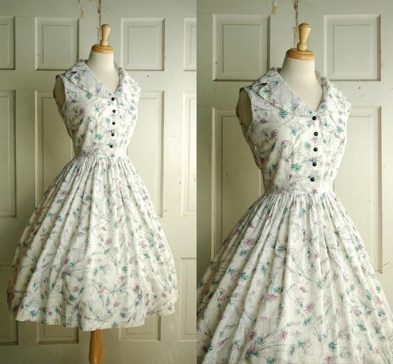 1950s White Cotton Dress / Vintage Novelty Print Dress