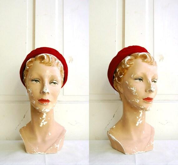 RESERVED FOR Ruta Tadaraviciute / 1950s Cranberry Velvet Hat / Vintage Red Turban