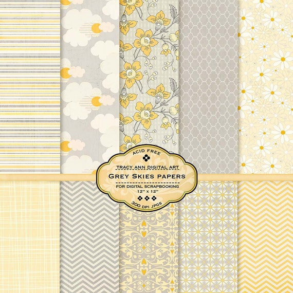 Yellow and Grey Skies Digital Papers Scrapbook Printable Lemon and Gray Floral