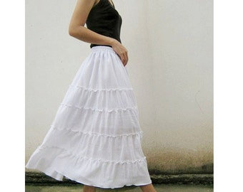Custom Made Cotton Boho Hippie Long Elastic Waist Ruffle Skirt