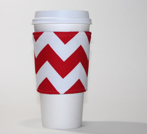 Red Chevron Reversible Coffee Cup Sleeve - Padded and Reusable