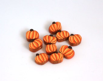 Pumpkin Beads, Polymer Clay Beads,  Autumn Harvest Vegetable Slices 10 Pieces