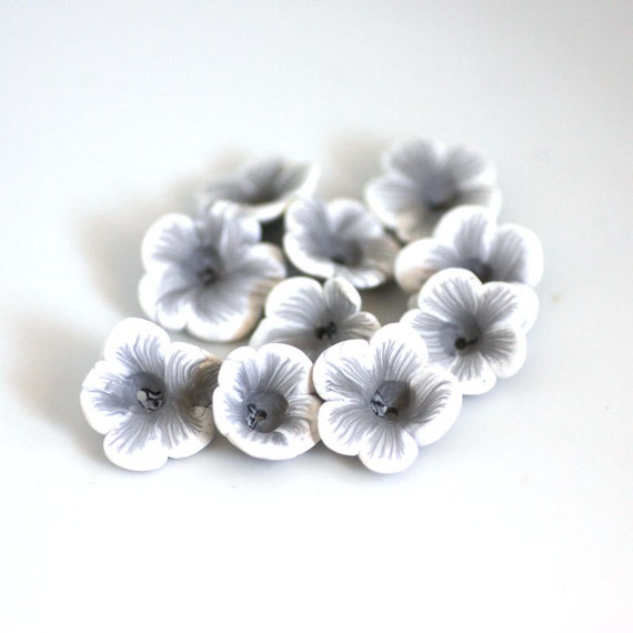 White Flower Beads, Polymer Clay Beads, Flower Beads 766