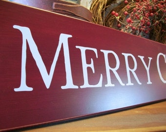 Merry Christmas Sign Large Burgundy Wood Wall Decor Holiday Mantle Decoration Signs with Sayings Holiday Signs