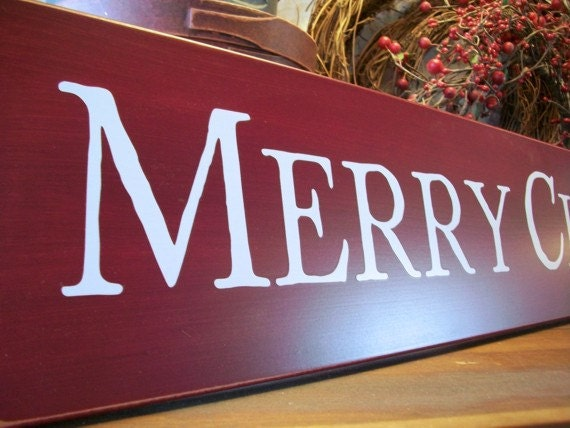 Merry Christmas Quote Wall Art Decal: Merry Christmas Sign Large Burgundy Wood Wall Decor Holiday