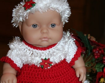 Crochet outfit for Berenguer 10 inch Lots to Love baby doll Dress Red White Poinsettia