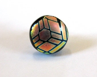 Dichroic Tie Tack, Fused Glass Jewelry, Tie Pin for Men, Mens Jewelry, Orange, Gifts Under 20, Ready to Ship - Dynamic - 035 -2