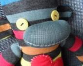 Rainbow and Grey Stripes Hip Sock Monkey