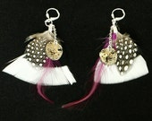 Steampunk Feather Earrings with Vintage Watch Movements and Black White Purple Plum and Spotted Feathers by Velvet Mechanism