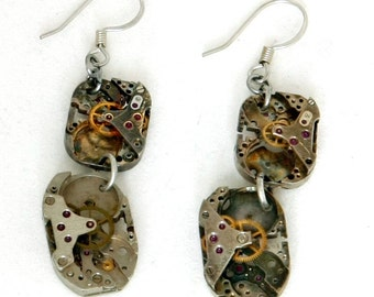 Steampunk Post-Apocalyptic Clockwork Earrings with Four Authentic Vintage Watch Movements by Velvet Mechanism
