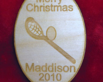 Personalized wooden christmas lacrosse ornament tag