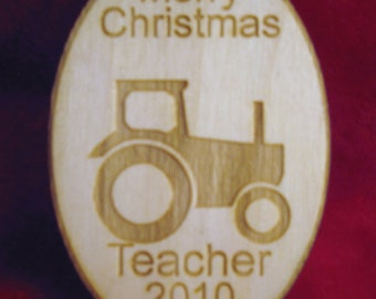 Personalized wooden christmas tractor ornament tag