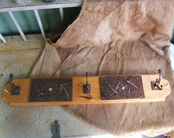 Birch Wood Wall Rack with Dragonflies