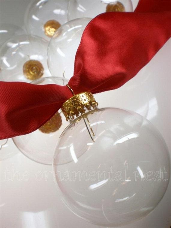 Crystal clear glass ball christmas feather tree wreath