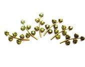 6 Vintage Swarovski leaves shape metal setting with green crystal rhinestones-RARE