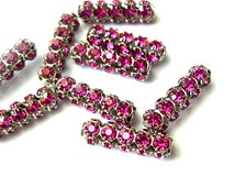 2 Vintage SWAROVSKI  beads fuschia pink rhinestones crystals in silver color metal setting genuine 1100 made in Austria