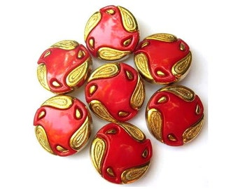 6 Vintage buttons, red with gold color ornament  25mm