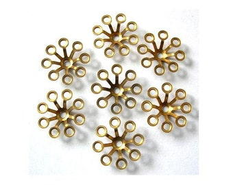 7 Vintage flower beads metal finding 18mm, UNIQUE