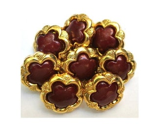 6 Vintage buttons gold color plastic flowers with dark red trim in the center 14mm