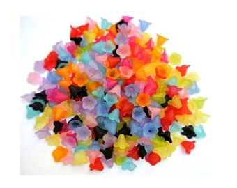 250 Flowers beads, 10 colors, acrylic frosted matte, 14mm acrossx10mm high