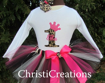 1st Birthday Tutu Set - Party Outfit - Princess Crown - Leopard - Personalized