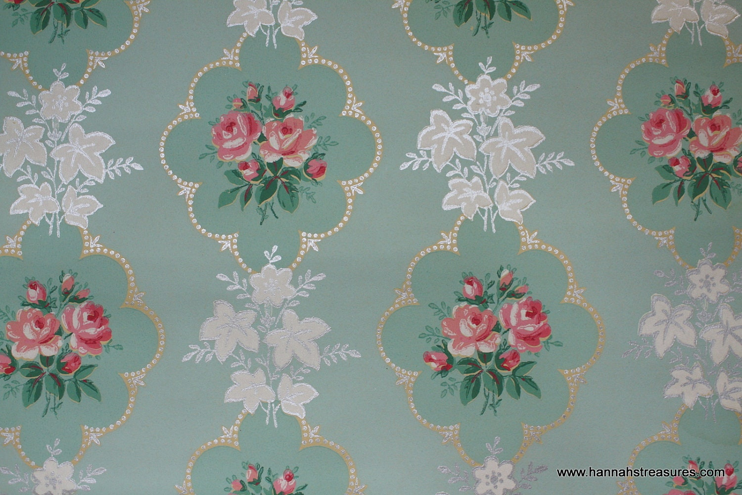 1940's Pink Rose vintage wallpaper on mint by HannahsTreasures