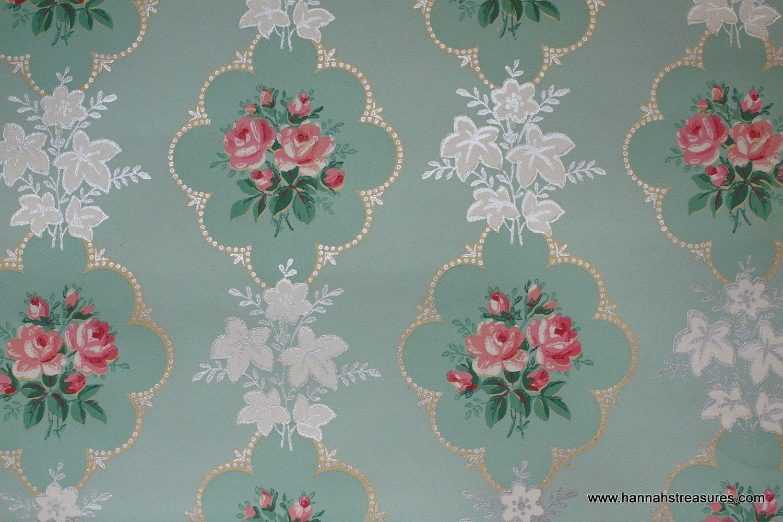 1940's Pink Rose vintage wallpaper on mint green