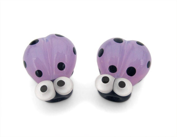 Purple Handmade Lampwork Glass Ladybug Beads SRA PCJ C - Made in USA