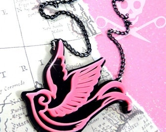 TATTOO STYLE SPARROW - Double Layered Sparrow Necklace in Pink and Black