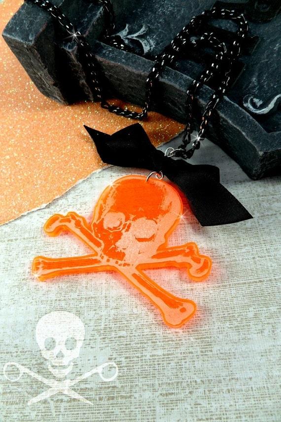 SCARY SKULL - Orange Skull & Crossbones Acrylic Laser Cut Necklace