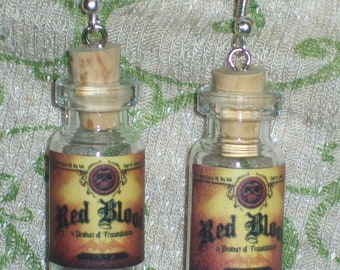 RED BLOOD Potion Bottle Earrings Miniature Halloween Witch Costume Jewelry Prop