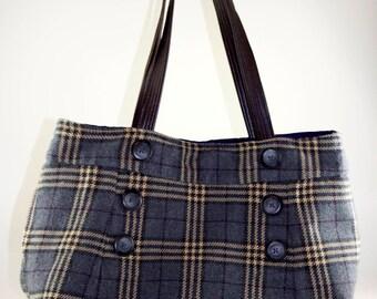 Classic Gray Plaid Upcycled Skirt Bag