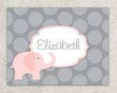 Pink  Elephant Thank You Notes -  Folded Notecards - Pink and Grey