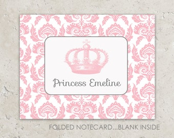 Princess Thank You Notes -  Folded Notecards - Damask with Vintage Crown Design