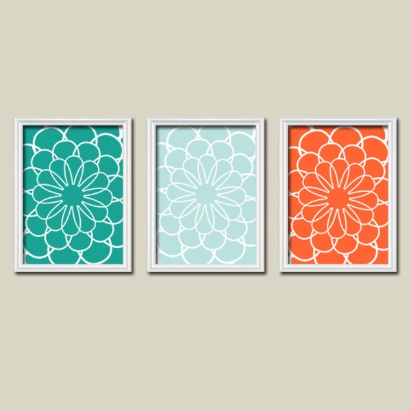 Bathroom Art Orange: Bathroom Decor Teal Orange WALL Art CANVAS Or Prints By