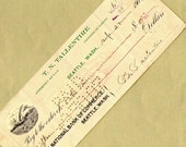 Old Bank Check from T.N. Tallentire in Seattle, Washington