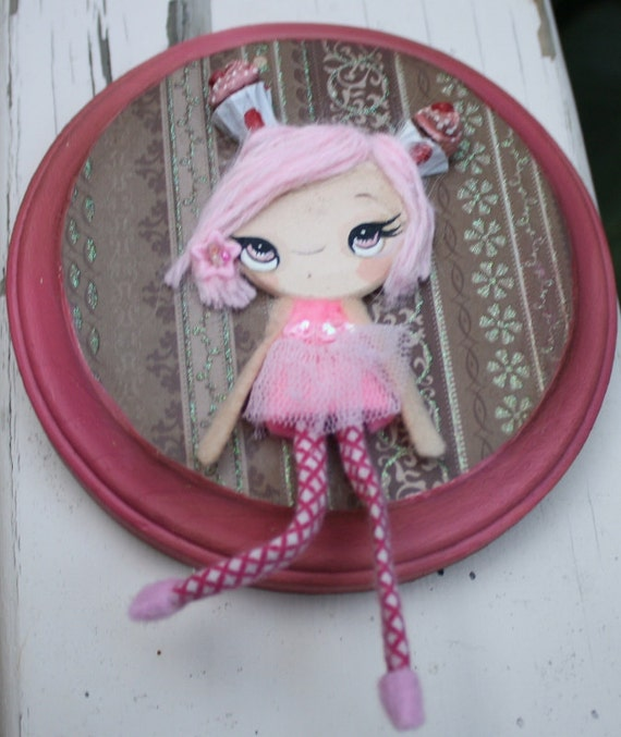 Pink Cupcake OOAK Wall Doll---5 inch  Wood Plaque