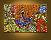 Art Painting Fairy Canvas -- Magic Carpet Fairy -- 20 x 30 inch Original Oil Painting -- Ready to Hang