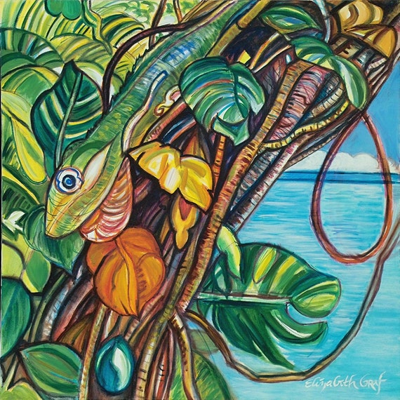 RESERVED FOR DIANE -- Cuban Lizard -- 30 x 30 original oil painting -- Inventory Clearance Sale