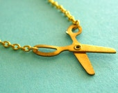 Brass Scissors Necklace - Brass working scissors on gold plated chain