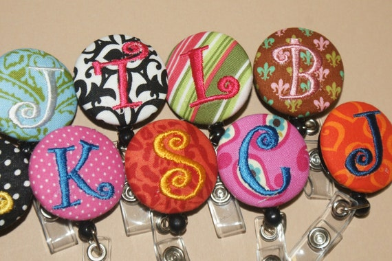 ID reel special - 2 for 13 Bucks -  Retractable Badge reel,  Monogrammed - - U DESIGN--included shipping