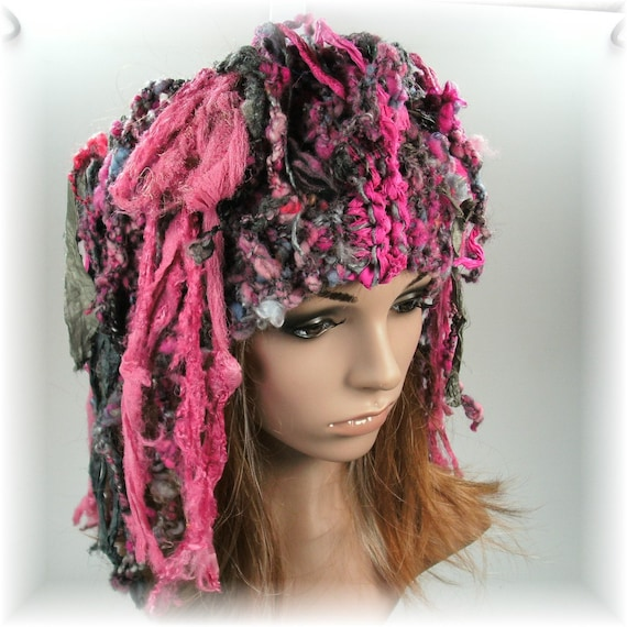 Knitted Headband Hat Dreadlock fun silk sari by ...