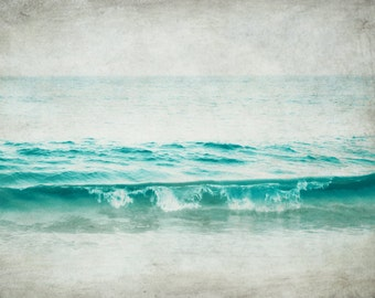 "Beach ocean photography print, aqua blue wave wall art  ""Aquatic"""