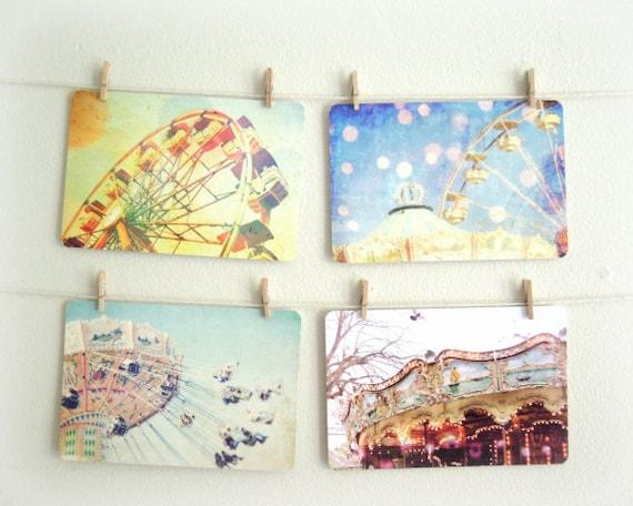 Carnival Postcard set - Carnival Daze - Set of four 4x6 postcards art prints - Whimsical cards Carnival ride colorful photo stationary