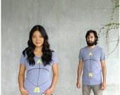 The Headhunter - womens tshirt - S/M/L/XL - neon yellow bow and arrow screenprint on heather gray track tees - womens fashion