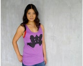 SALE - Wolf Like Me - womens tank top - neon fashion - oversized viscose tank - wolf inkblot print on bright orchid