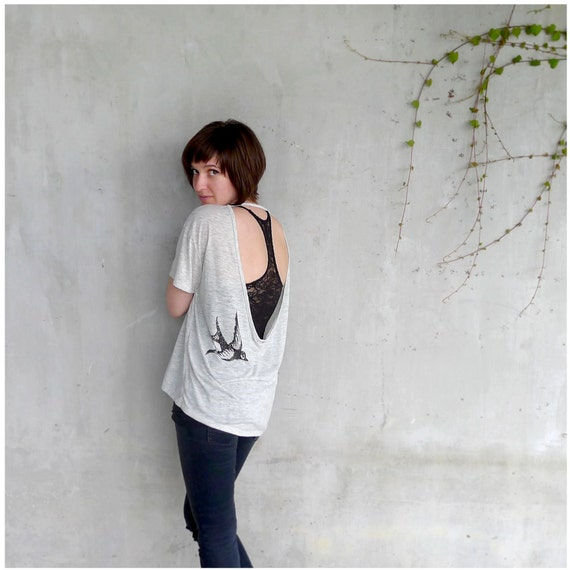 One That Got Away - boho fashion - womens t shirt - S/M/L/XL - birdcage print on open back pony tees in heather oatmeal