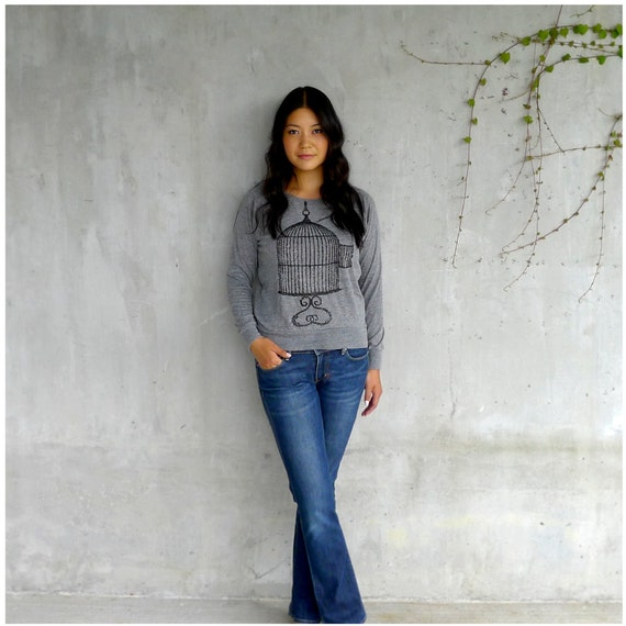 One That Got Away - fall fashion - ladies raglan pullover - birdcage screenprint on Alternative Apparel heather gray - gift for her