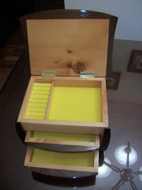 Antique Pine,Walnut jewelry box.