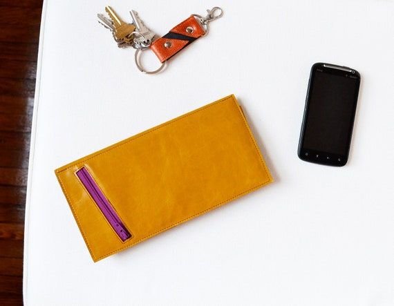 Leather Travel Wallet - The Stella Slim Travel Wallet Clutch in Mustard Yellow
